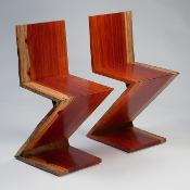 Bright red plank chair that looks like a Z, Live Edge Rietveld Zig Zag Chair, WMT 102 by Charlie P.