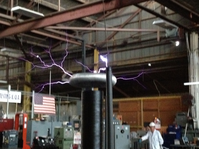 Tesla coil demonstration by an employee at Romac comapy tour
