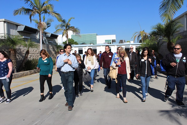 High school counselors taking campus tour