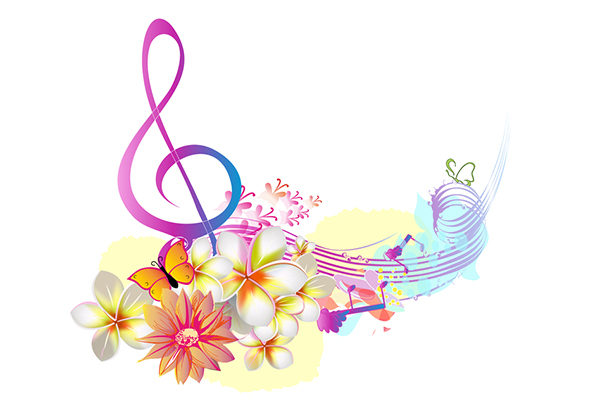 music notes and flowers