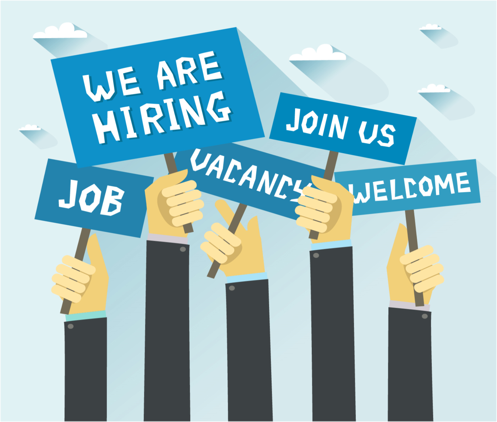 raising hands with signs: Job, We are hiring, Vacancy, join us, welcome