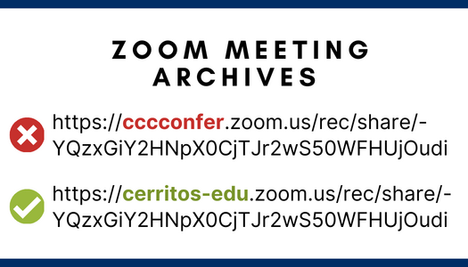 A correct and incorrect Zoom meeting URL address.