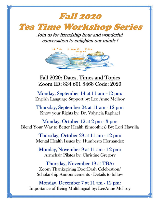 2020 Tea Time information