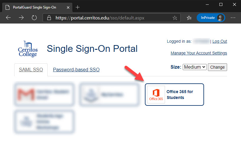 Click on the SSO tile for O365