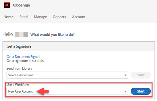 "Select ""New User Account"" in the workflow menu"