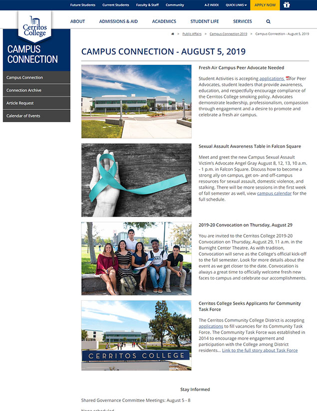 Campus Connection web page