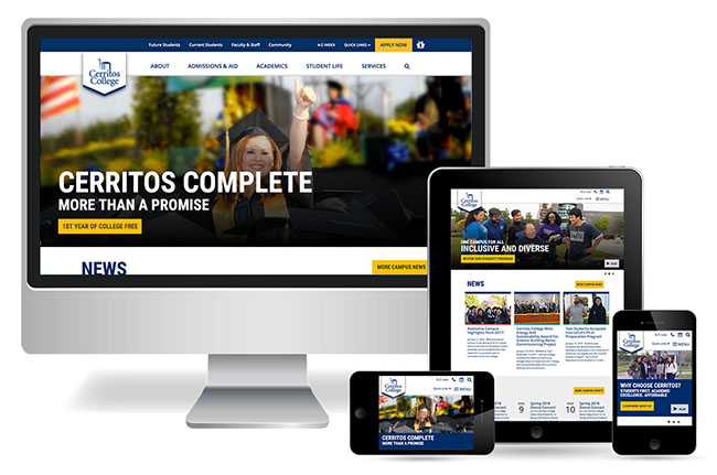 Cerritos College home page displayed on various media devices.
