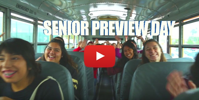 Students on a bus for Senior Preview Day.