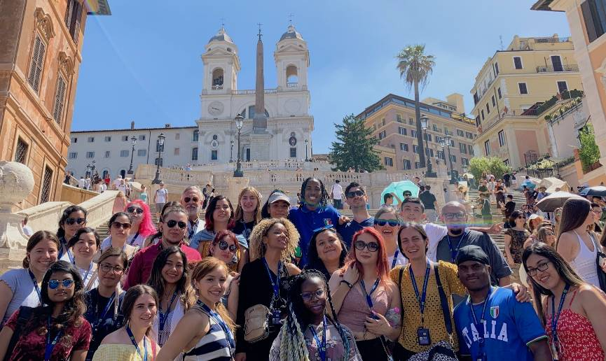 Students at the Spanish Steps in Rome