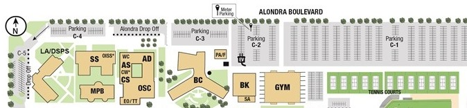 Academic Affairs is located in Administration (AD) - north facing Alondra Blvd.
