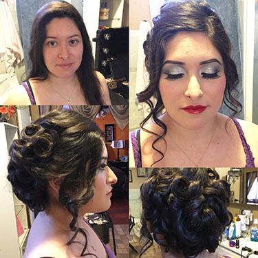 Student, Cindy Arechiga's winning hair and makeup look