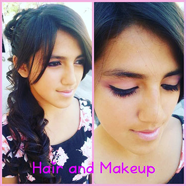Student, Beth Vergara's stylized hair and makeup