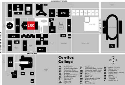 Cerritos College Campus Map.