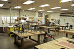 workbenches in a woodworking classroom