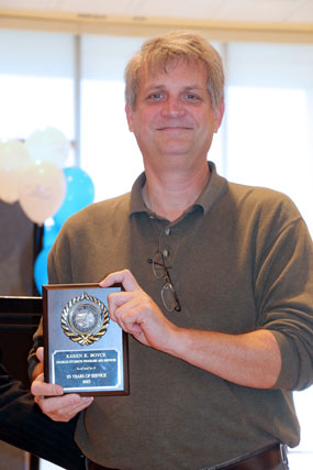Dave Ward with his award plaque